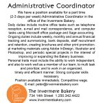 Employment Opportunity: Administrative Coordinator