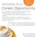 Career Opportunity : Barista/Sales Person