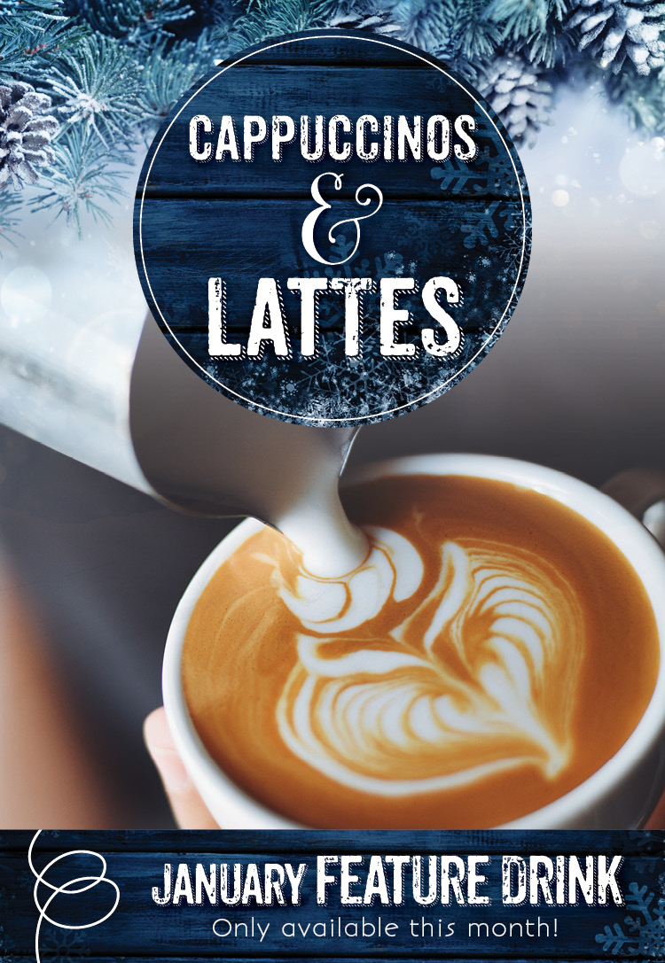 January Drinks Specials - Cappuccinos and Lattes at the Invermere Bakery