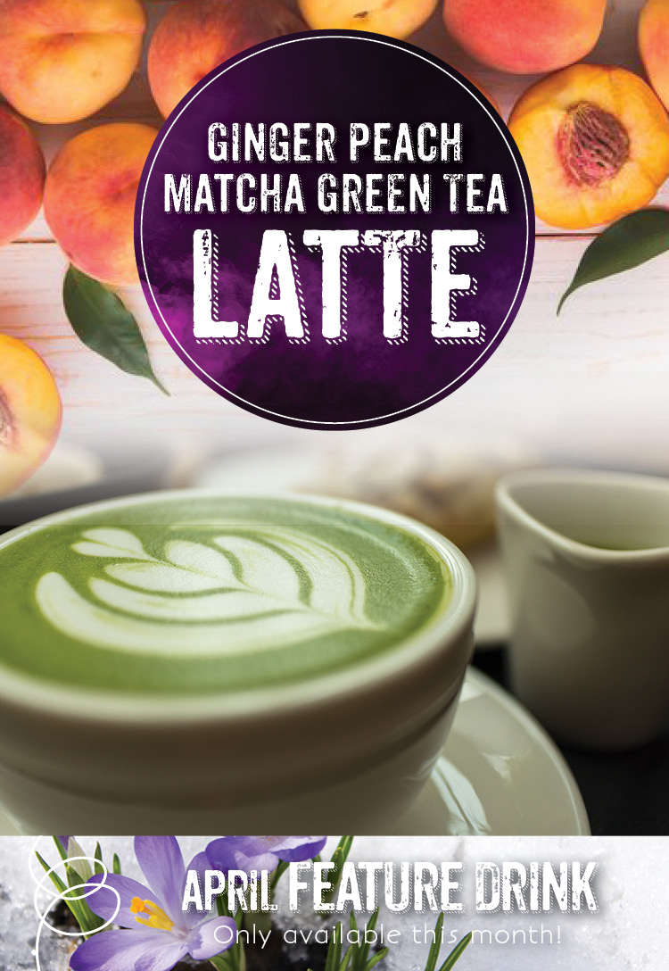 Ginger Peach Matcha Green Tea Latte at the Invermere Bakery