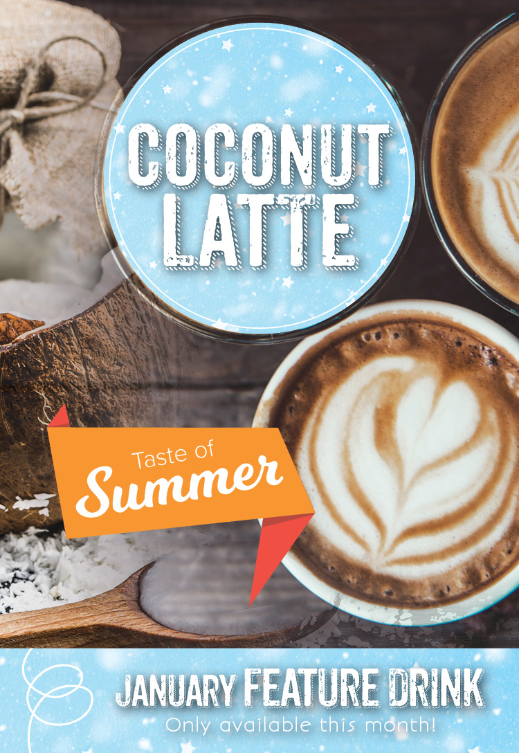 Latte special at the Invermere Bakery : Coconut Latte!