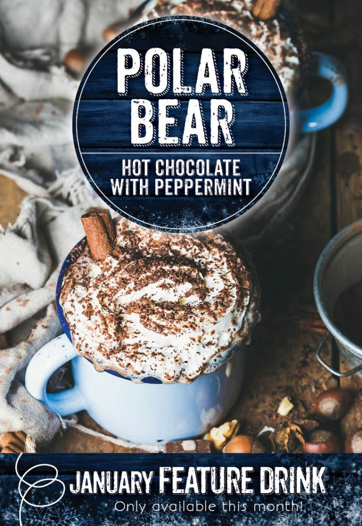 Polar Bear Hot Chocolate with Peppermint at the Invermere Bakery